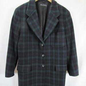 Ann Freedburg Nordstrom Plaid Wool Cashmere Coat